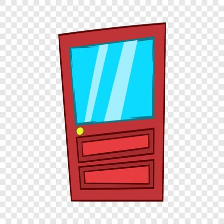 Door with glass icon, cartoon style