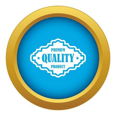 Premium quality product label icon blue vector isolated on white background for any design