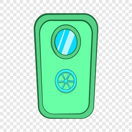 Door with window and lock wheel icon cartoon style Фото со стока - 117135322