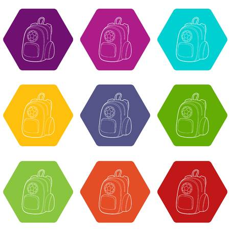 School backpack icons 9 set coloful isolated on white for web Standard-Bild - 125187934