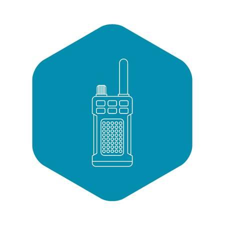 Tragbares Handheld-Radio-Symbol im Umriss-Stil auf einer weißen Hintergrundvektorillustration