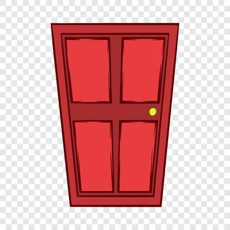 Red wooden door icon, cartoon style Vector Illustratie