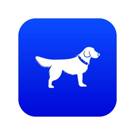 Dog icon digital blue for any design isolated on white vector illustration
