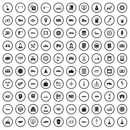 100 car company icons set in simple style for any design vector illustration
