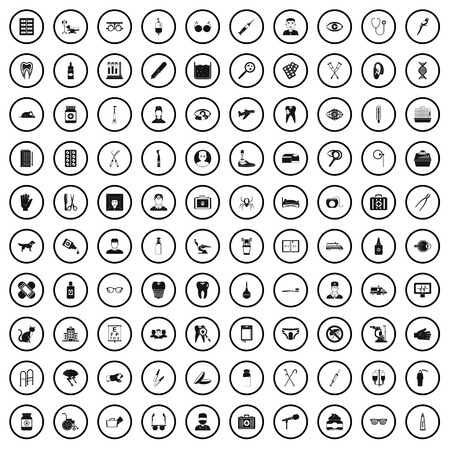 100 care icons set in simple style for any design vector illustration