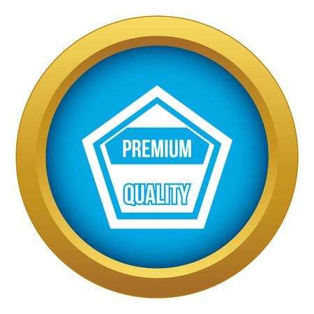 Premium quality label icon blue vector isolated on white background for any design