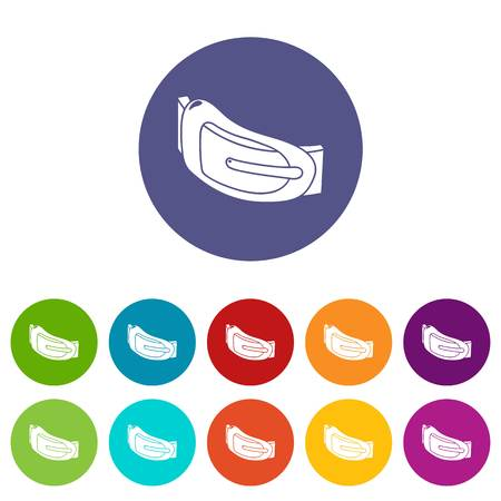 Fashion woman belt icons set vector color 向量圖像