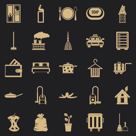 Clean up icons set. Simple set of 25 clean up vector icons for web for any design Illustration