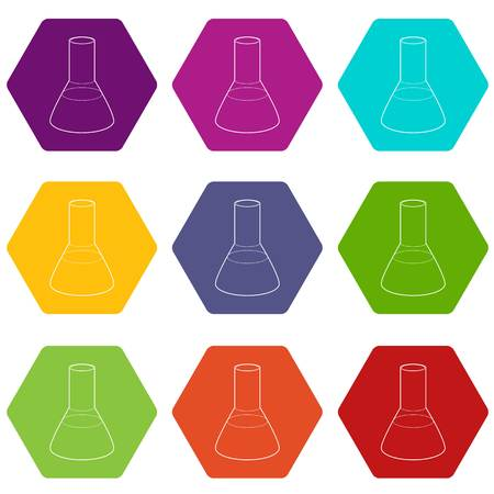 Laboratory flask icons 9 set coloful isolated on white for web
