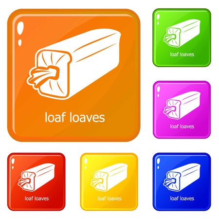 Loaf loaves icons set collection vector 6 color isolated on white background Illustration