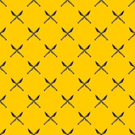 Japanese tanto daggers pattern seamless vector repeat geometric yellow for any design