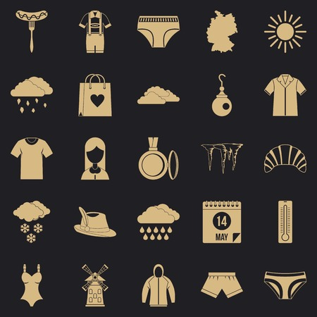 Warm clothes icons set. Simple set of 25 warm clothes vector icons for web for any design