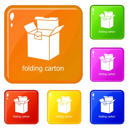 Folding carton icons set collection vector 6 color isolated on white background