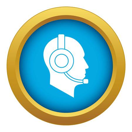 Operator in headset icon blue vector isolated on white background for any design Illustration