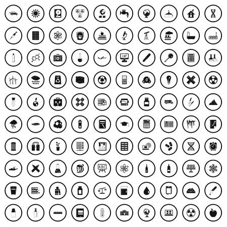 100 chemistry icons set in simple style for any design vector illustration