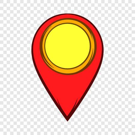 Map pointer icon in cartoon style