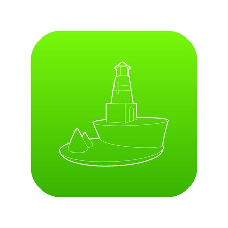 Lighthouse icon green vector Illustration