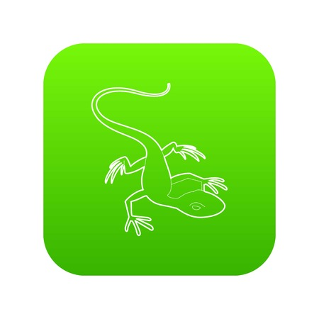 Little lizard icon green vector