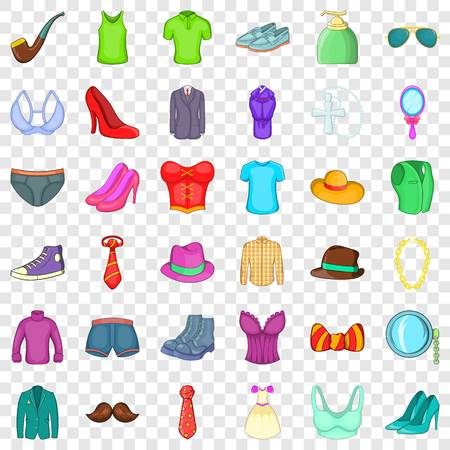 Hipster accessories icons set, cartoon style