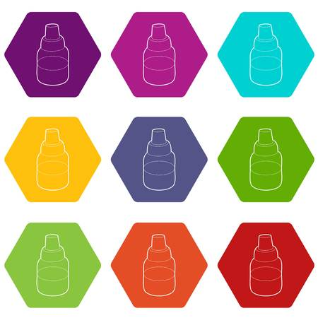 Bottle with pipette for vaping icons 9 set coloful isolated on white for web