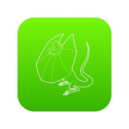 Frill necked lizard icon green vector isolated on white background