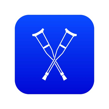 Crutches icon digital blue for any design isolated on white vector illustration