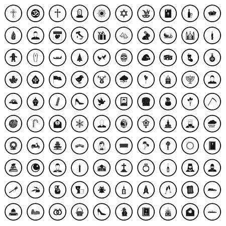 100 church icons set in simple style for any design vector illustration Иллюстрация