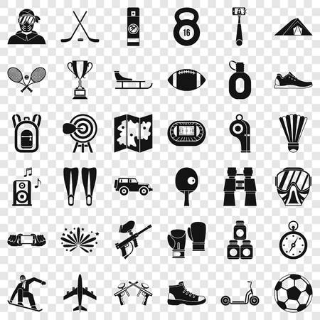 Active sport icons set, simple style
