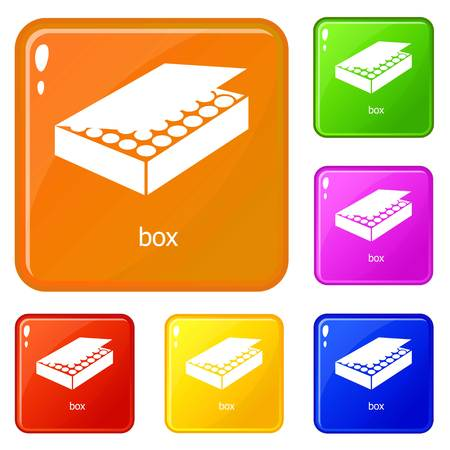 Box icons set collection vector 6 color isolated on white background Archivio Fotografico - 125151937