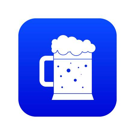 Beer mug icon digital blue for any design isolated on white vector illustration