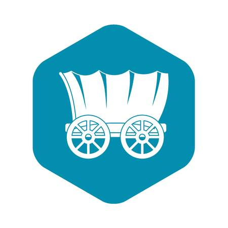 Ancient western covered wagon icon, simple style Stock Illustratie