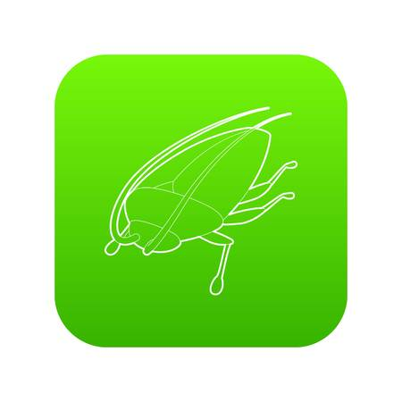Cockroach icon green vector Illustration