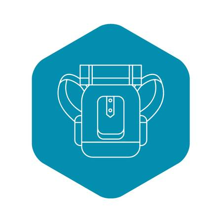 Tourist backpack with mat icon. Outline illustration of tourist backpack with mat vector icon for web Archivio Fotografico - 125151985