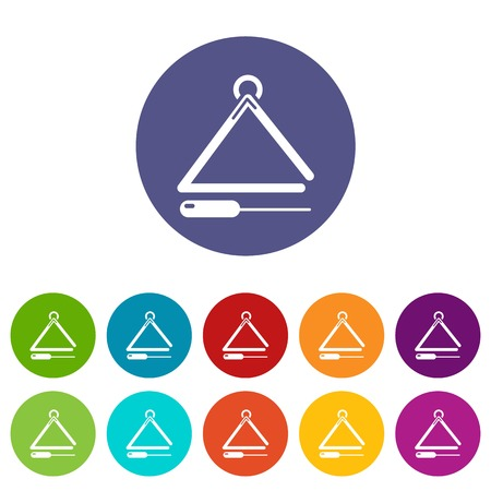 Musical triangle icons color set vector for any web design on white background