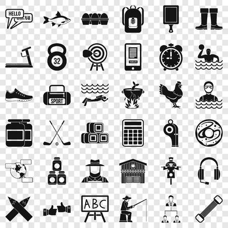 Accessories for sport icons set. Simple style of 36 accessories for sport vector icons for web for any design