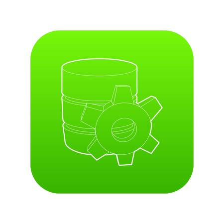 Working database icon green vector isolated on white background