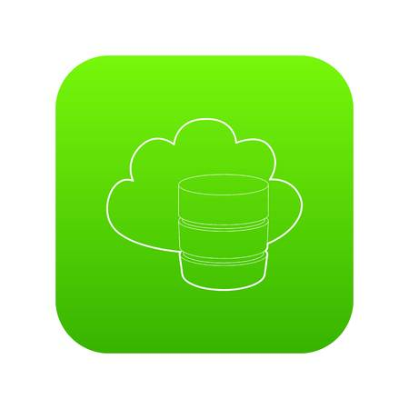 Big cloud database icon green vector isolated on white background