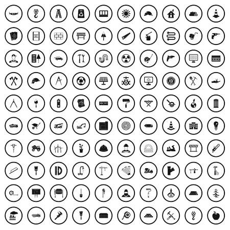 100 construction materials icons set in simple style for any design vector illustration Illustration