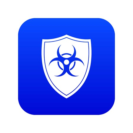 Shield with a biohazard sign icon digital blue for any design isolated on white vector illustration
