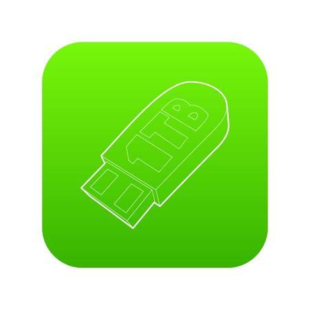 Flash drive icon green vector Stock Illustratie