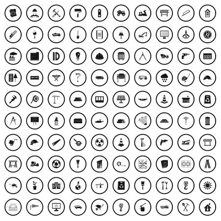 100 construction site icons set in simple style for any design vector illustration