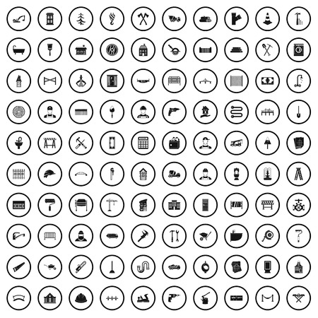 100 construction worker icons set in simple style for any design vector illustration