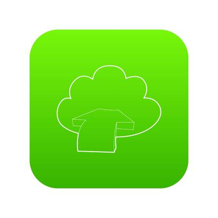 Incoming database icon green vector isolated on white background