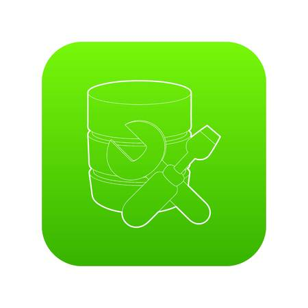 Repairing database icon green vector Illustration