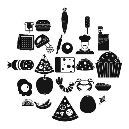 Favorite dish icons set. Simple set of 25 favorite dish vector icons for web isolated on white background Illusztráció