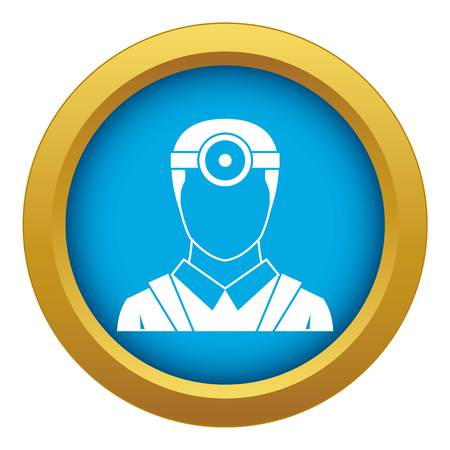 Ophthalmologist with head mirror icon blue vector isolated on white background for any design Stock Illustratie