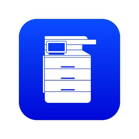 Multipurpose device, fax, copier and scanner icon digital blue for any design isolated on white vector illustration Illustration