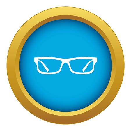 Eye glasses icon blue vector isolated on white background for any design