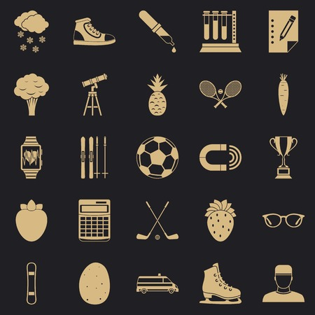 Sports health icons set, simple style