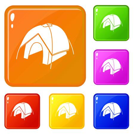 Tent icons set collection vector 6 color isolated on white background Illustration